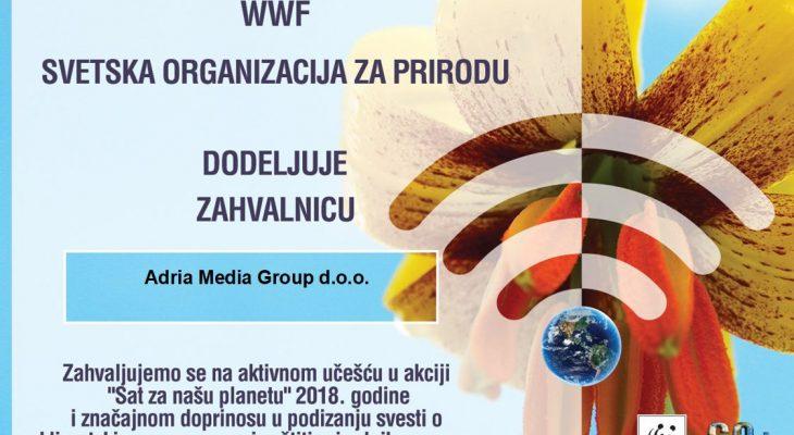 """SVETSKA ORGANIZACIJA ZA PRIRODU DODELILA ZAHVALNICU ADRIA MEDIA GROUP: """"Sat za našu planetu"""" akcija od važnosti za sve"""